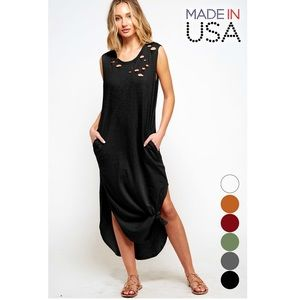 Women's Black Distressed Maxi Shirt Dress